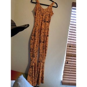 Mustard spotted flare jumpsuit